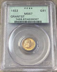 1922 GOLD GRANT WITH STAR $1 COMMEMORATIVE PCGS MS67