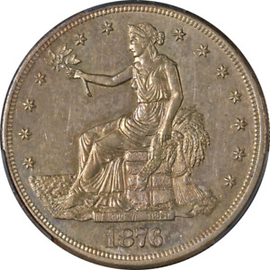 1876 CC TRADE DOLLAR DOUBLED DIE REVERSE PCGS AU DETAILS GREAT EYE APPEAL