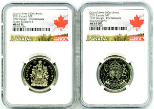 2021 1997 1937 50C CANADA QUEEN ELIZABETH & KING GEORGE NGC MS67 PL 2 COIN SET