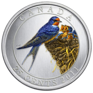 Click now to see the BUY IT NOW Price! CANADA 25 CENTS QUARTER COLORED COIN BIRDS OF CANADA   BARN SWALLOW 2011