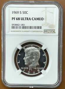 1969 S KENNEDY HALF DOLLAR SILVER NGC PF68UCAM PF 68 ULTRA CAMEO PROOF COIN