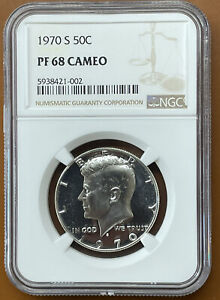 1970 S KENNEDY HALF DOLLAR SILVER NGC PF68CAM PF 68 CAMEO PROOF COIN
