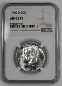 1970 D KENNEDY HALF DOLLAR 50C NGC MS 65 PL MINT STATE UNC PROOF LIKE  047