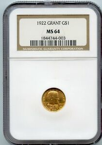 1922 GRANT G$1 COMMEMORATIVE GOLD DOLLAR COIN NGC MS 64
