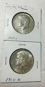 1964 D & 1968 D KENNEDY HALF DOLLARS BOTH WITH SILVER CONTENT 90  / 40  SILVER