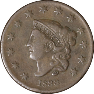 1833 LARGE CENT   N.1 R.2 GREAT DEALS FROM THE EXECUTIVE COIN COMPANY
