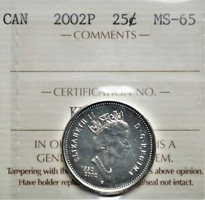 2002 P  1952   CANADA 25 CENTS ICCS MS 65