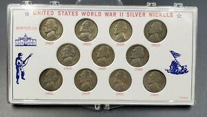 1942   1945 PDS WW2 WARTIME SILVER JEFFERSON NICKEL CIRCULATED 11 COIN CASE SET