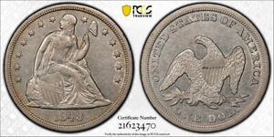 1848 $1 SEATED LIBERTY DOLLAR PCGS XF 40 EXTRA FINE LOW MINTAGE KEY DATE TOUGH