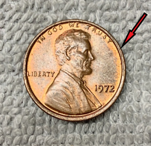 1972 P RED BROWN PENNY MINT ERROR BROAD STRUCK VG CONDITION.