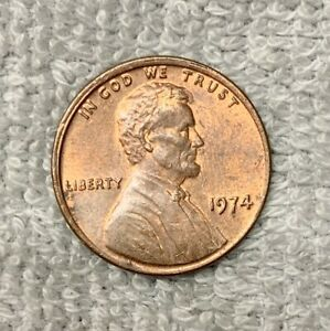 1974 P RED BROWN PENNY MINT ERROR OFF CENTER G CONDITION.