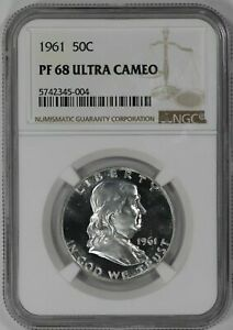 Click now to see the BUY IT NOW Price! 1961 PROOF FRANKLIN HALF DOLLAR 50C NGC CERTIFIED PR PF 68 ULTRA CAMEO  004