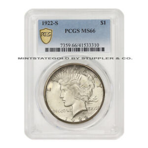 Click now to see the BUY IT NOW Price! 1922 S $1 SILVER PEACE DOLLAR PCGS MS66 GEM GRADED SAN FRANCISCO COIN