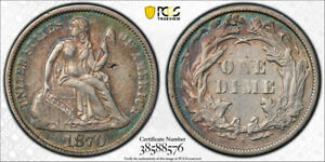 1870 S 10C SEATED LIBERTY DIME PCGS XF 40 EXTRA FINE KEY DATE SAN FRANCISCO T