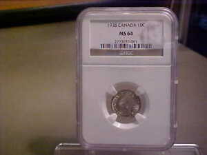 CANADA GEORGE VI 1938 SILVER TEN CENTS NGC MS654 / OUTSTANDING COIN