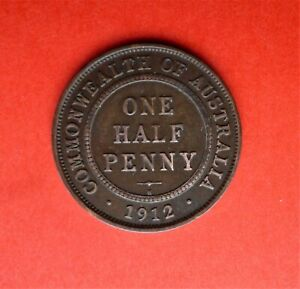 AUSTRALIA HALFPENNY 1/2D 1912H GEORGE V EXCELLENT CONDITION FOR AGE