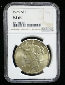 1926 PEACE SILVER DOLLAR S$1 NGC MS64   09719