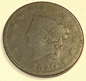 1820 LARGE CENT  NICE LOOKING SMALL DATE 1