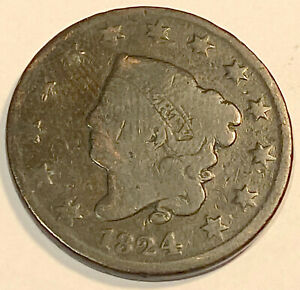 1824 LARGE CENT  NICE LOOKING 1