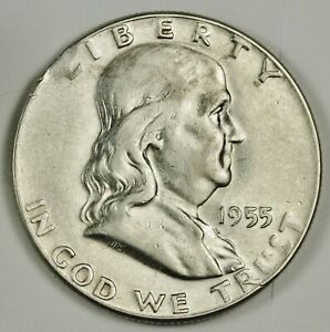 1955 FRANKLIN HALF.  MINT MADE CLIPPED PLANCHET.  142424