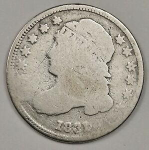 1831 BUST DIME.  ROTATED REVERSE.  CUD @ 7:00 OBVERSE.  GOOD.  144732
