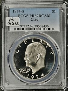 1974 S EISENHOWER DOLLAR.  CLAD.  IN PCGS HOLDER.  PROOF 69 DEEP CAMEO.  G 212