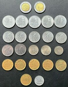LOT OF 24X ITALY COINS   VARIOUS DATES   500 100 200 LIRE   MORE   SEE PHOTOS