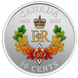 CANADA 50 CENTS COLORED COIN THE QUEEN'S DIMOND JUBILEE SILVER UNC 2012