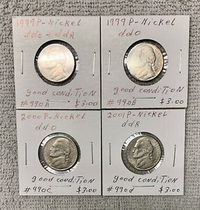 LOT OF 4 NICKELS   2  1999 P  ONE 2000 P   ONE 2001 P ALL WITH DOUBLE DIE ERROR.