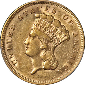 1878 INDIAN PRINCESS GOLD $3 PCGS AU55 GREAT EYE APPEAL STRONG STRIKE