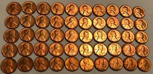 ROLL OF 50 GEM RED BU 1954 S LINCOLN WHEAT CENTS.  1
