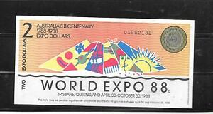 AUSTRALIA EXPO 1988 AU UNUSED $2 DOLLAR BANKNOTE PAPER MONEY CURRENCY NOTE