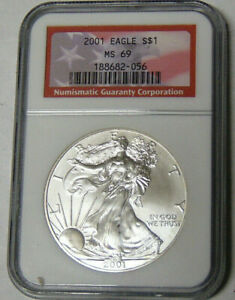 NGC MS69 2001 AMERICAN SILVER EAGLE .999 SILVER DOLLAR RED LABEL 188682 056