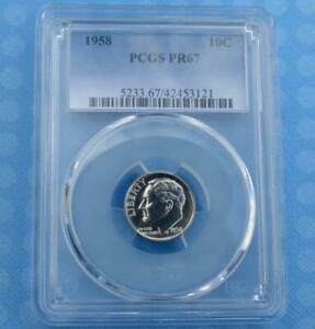ROOSEVELT SILVER DIME 1958 PCGS PROOF 67 CERTIFIED PR 67 SILVER 10 CENT COIN