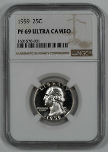 Click now to see the BUY IT NOW Price! 1959 PROOF WASHINGTON QUARTER 25C NGC CERTIFIED PF 69   ULTRA CAMEO  001