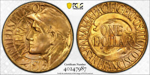 1915 S PANAMA PACIFIC G$1 GOLD DOLLAR PCGS MS 65 PAN PACK EXCEPTIONAL
