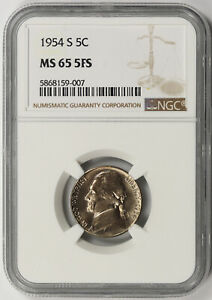 Click now to see the BUY IT NOW Price! 1954 S JEFFERSON NICKEL 5C MS 65 5FS NGC 5 FULL STEPS