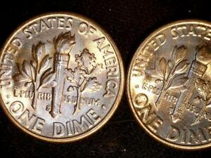 Click now to see the BUY IT NOW Price! TWO USA 1955 S 10 CENT SILVER DIME COIN ERROR  CH.BU A  MATCHING PAIR