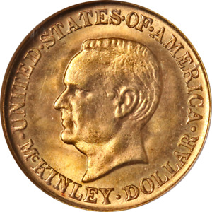 1916 MCKINLEY COMMEMORATIVE GOLD $1 NGC MS63 SUPERB EYE APPEAL STRONG STRIKE