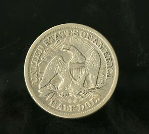 1853 SEATED LIBERTY HALF DOLLAR ARROWS RAYS UNGRADED US SILVER COIN