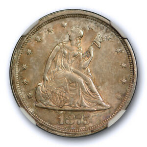 1875 S 20C TWENTY CENT PIECE NGC MS 63 UNCIRCULATED TONED CAC APPROVED