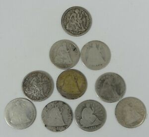 LOT X 10 DIFFERENT DATE OR MM SEATED SILVER DIMES CULL OR BETTER   1838   1890 S