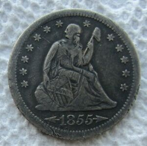 1855 S WITH ARROWS SEATED LIBERTY QUARTER  KEY DATE VF DETAIL SCRATCHES