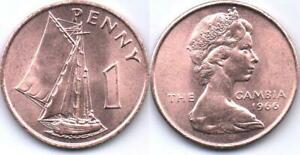 GAMBIA 1 PENNY 1966 UNC