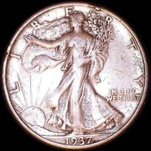 Click now to see the BUY IT NOW Price! USA 1937 WALKING LIBERTY 50 CENT SILVER COIN RIM NICK