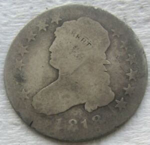 1818 25C CAPPED BUST QUARTER LARGE DIAMETER CIRCULATED