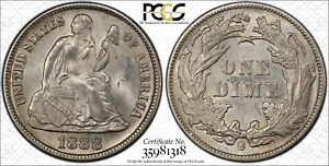 1888 S 10C LIBERTY SEATED DIME PCGS MS63 CAC FROSTY WHITE COIN