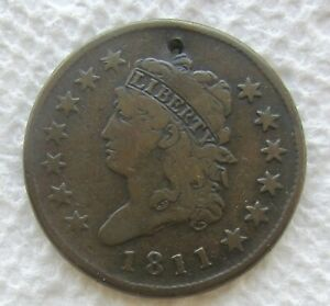 1811 CLASSIC HEAD LARGE CENT  KEY DATE FINE DETAIL SMALL HOLE NO CORROSION