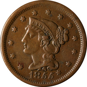 1855 LARGE CENT   KNOB ON EAR GREAT DEALS FROM THE EXECUTIVE COIN COMPANY