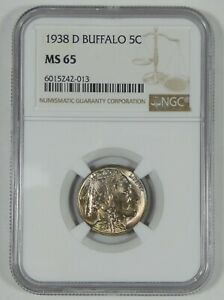 1938 D BUFFALO NICKEL CERTIFIED NGC MS 65  5 CENTS
